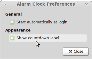 Obrazovka-Alarm Clock Preferences